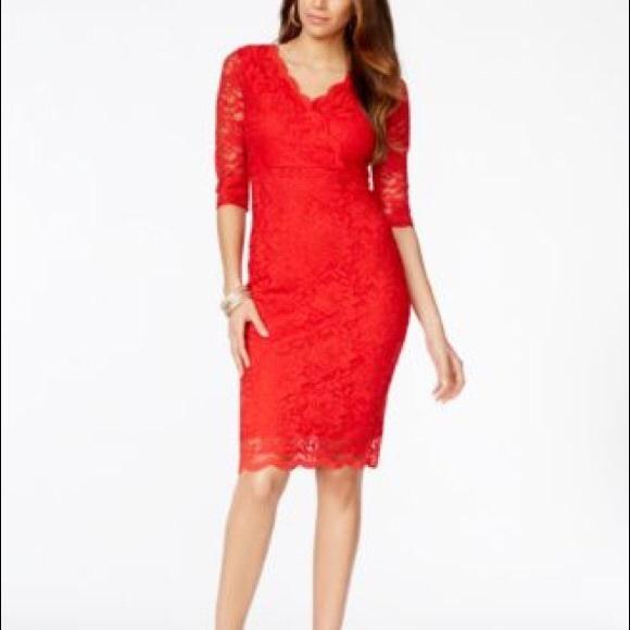 74308a16b17 Thalia Sodi Red Lace Surplice Sheath Dress!! M 5b7ebf8dcdc7f7e2b9c1f485